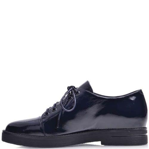 Ботинки Prego женские на шнуровке лаковые глубокого синего цвета, фото
