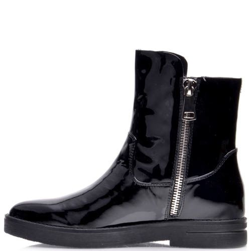 Ботинки Prego черные лаковые с молнией, фото