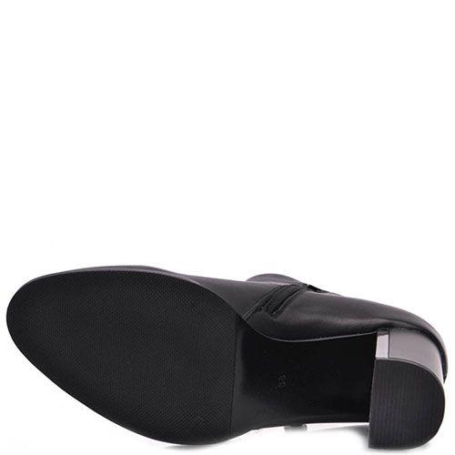 Ботинки Prego из кожи на высоком каблуке с металлической вставкой, фото