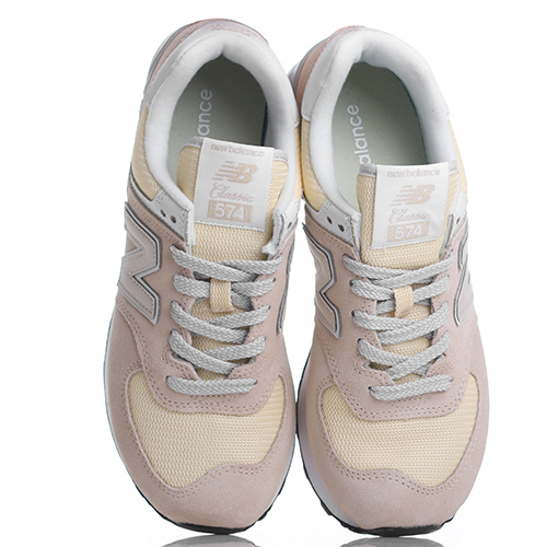 Желтые кроссовки New Balance 574 из комбинации замши и текстиля, фото