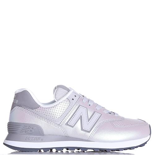 Перламутровые кроссовки New Balance 574 с серыми вставками, фото