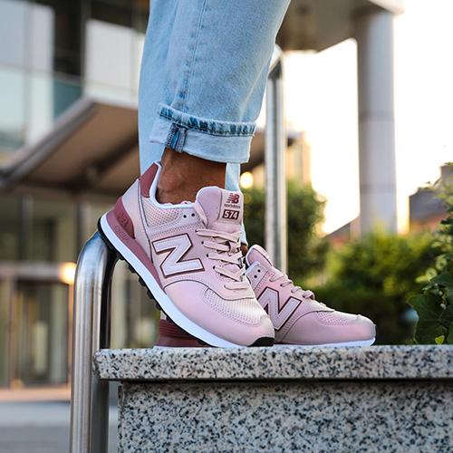Кроссовки New Balance 574 розовые с бордовым, фото