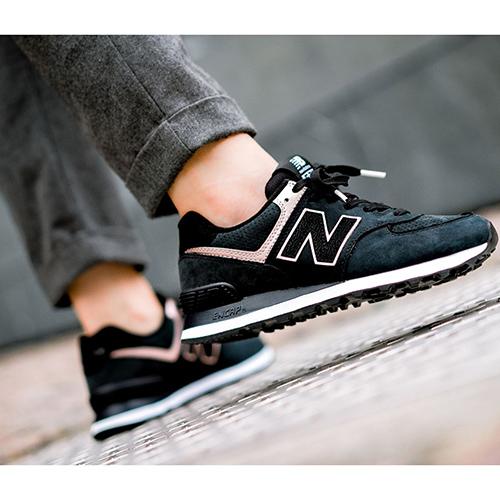 Черные кроссовки New Balance 574 с розовыми вставками, фото