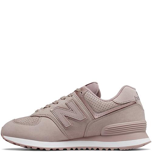 Розовые кроссовки New Balance 574 на белой подошве, фото
