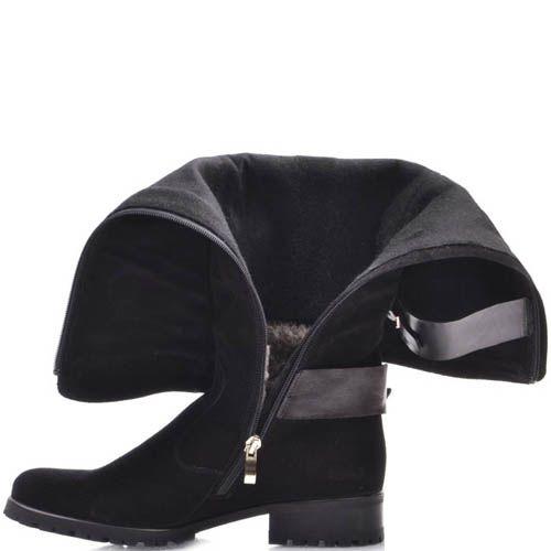 Сапоги Prego зимние замшевые с мехом черные и с кожаными ремешками коричневого цвета, фото