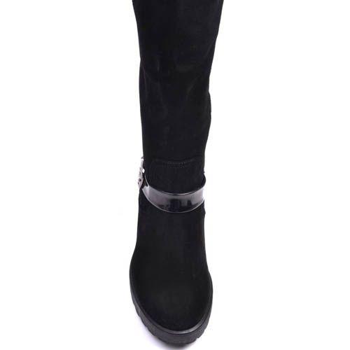 Сапоги Prego зимние на меху из натуральной замши черного цвета с лаковыми вставками и ремешками, фото