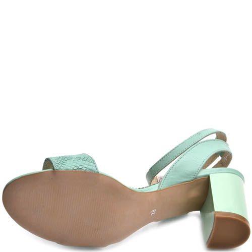 Босоножки Prego мятного цвета на устойчивом каблуке, фото