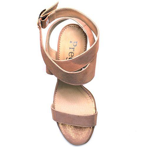 Босоножки Prego из натуральной перламутровой розовой кожи с ремешком на устойчивом каблуке, фото