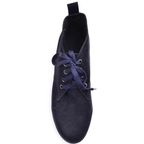 Ботинки Prego замшевые синего цвета на шнуровке с толстым каблуком, фото