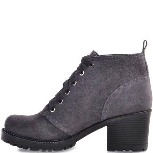 Ботинки Prego серого цвета из замши со шнуровкой и на толстом каблуке, фото