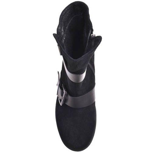 Ботинки Prego замшевые черного цвета с толстым каблуком и пряжками, фото