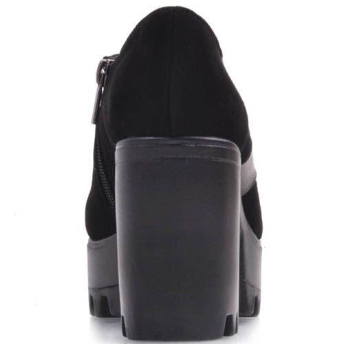Ботильоны Prego замшевые черного цвета с кожаной перемычкой, фото