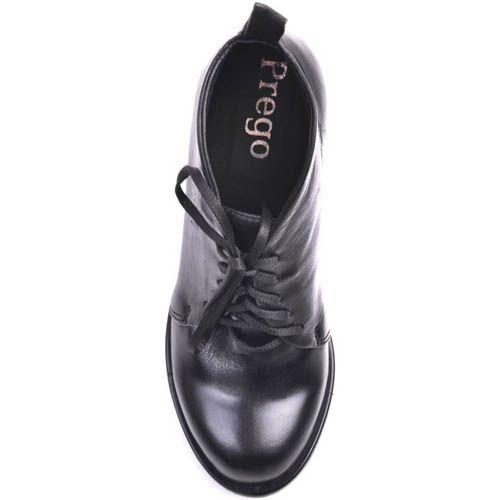 Ботильоны Prego кожаные черного цвета с окрыглым верхов, фото