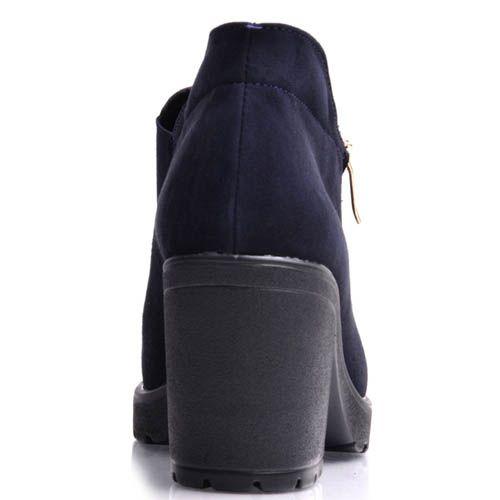 Ботильоны Prego из синего нубука на широком каблуке, фото