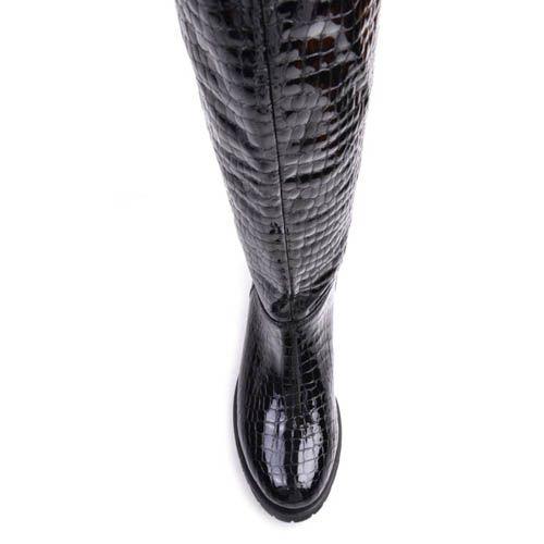 Сапоги Prego осенние из черной лаковой кожи под крокодила, фото