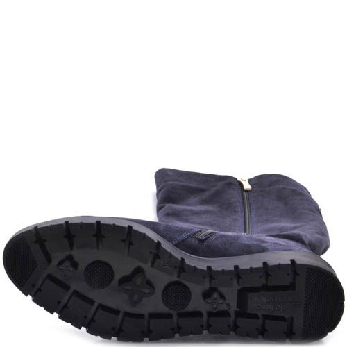 Сапоги Prego осенние синего цвета из замши на плоском ходу с подвеской сзади, фото