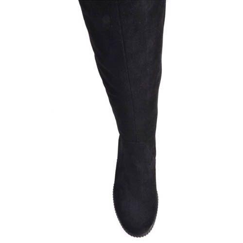 Сапоги Prego осение замшевые черного цвета с утолщенной подошвой и металлической вставкой на пятке, фото