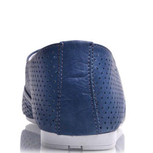 Туфли Prego женские синего цвета на шнуровке с мекой перфорацией, фото