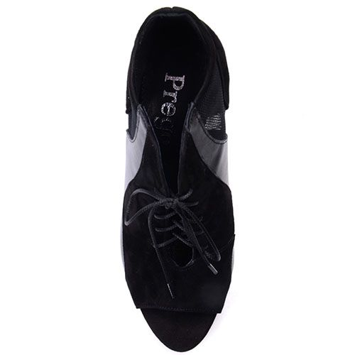 Туфли Prego черного цвета выполнены из натуральной замши и кожи со вставками из текстильной сеточки, фото