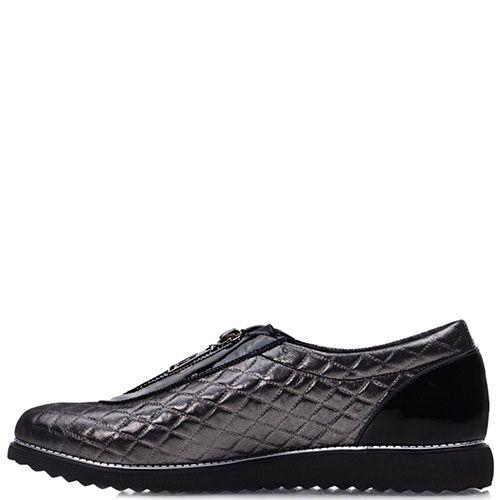 Блестящие туфли Prego из кожи черного цвета с лаковыми вставками, фото