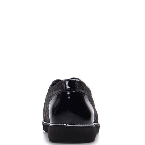 Блестящие туфли Prego из натуральной кожи черного цвета с лаковыми вставками, фото