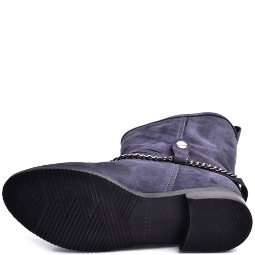 Ботинки Prego женские из синего нубука с верхом по диагонали и декоративной цепочкой, фото