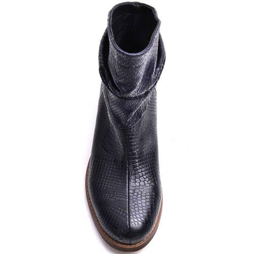 Ботинки Prego женские синего цвета с отделкой под кожу рептилии, фото