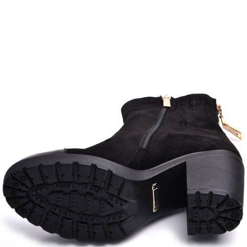 Ботильоны Prego черные замшевые с лаковым носочком, фото