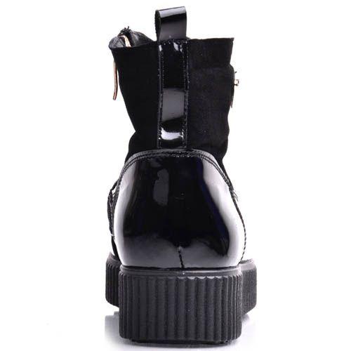 Ботинки Prego женские на широкой подошве замшевые с лаковыми вставками, фото