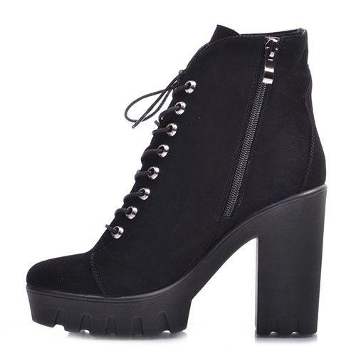 Высокие ботинки Prego из натуральной замши черного цвета на шнуровке и молнии, фото