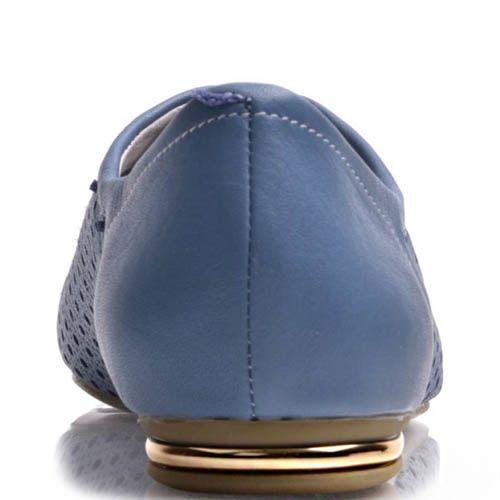 Туфли Prego женские синего цвета на шнуровке с перфорацией и металлической вставкой на каблуке, фото