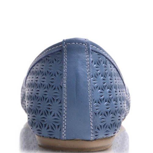 Балетки Prego синие с узорной перфорацией, фото