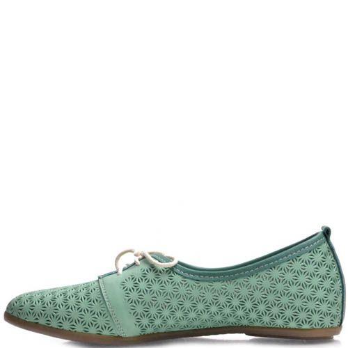 Туфли Prego зеленые с узорной перфорацией, фото