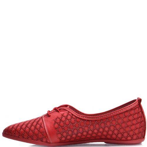 Туфли Prego красные с узорной перфорацией, фото