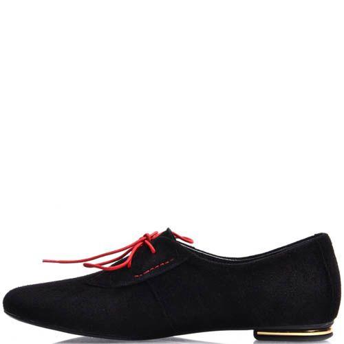 Туфли Prego женские из черной замши с красной шнуровкой, фото