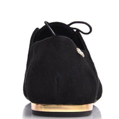 Туфли Prego женские черные замшевые с узким носком, фото