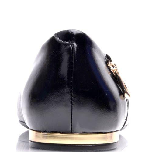 Кожаные балетки Prego черного цвета с декоративной молнией на пятке, фото