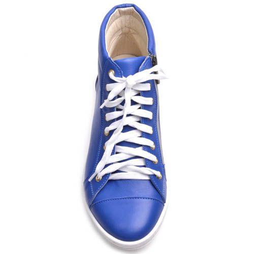 Высокие кеды Prego женские кожаные синего цвета, фото
