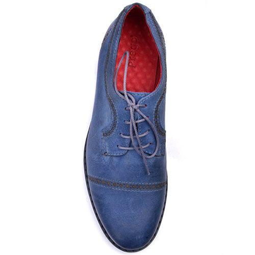 Кожаные оксфорды Prego синего цвета с тонкой красной линией вдоль подошвы, фото