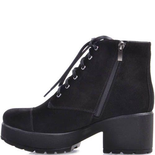 Ботинки Prego черного цвета из замши со шнуровкой и швом на носочке, фото