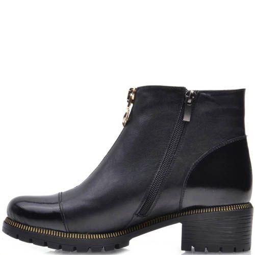 Ботинки Prego черного цвета с лаковым носкои и пяткой и с золотистой молнией, фото