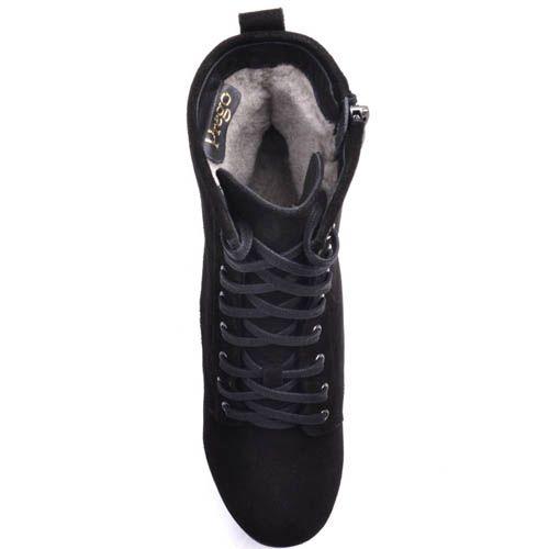 Ботинки Prego черного цвета зимние замшевые со шнуровкой и с толстым устойчивым каблуком, фото