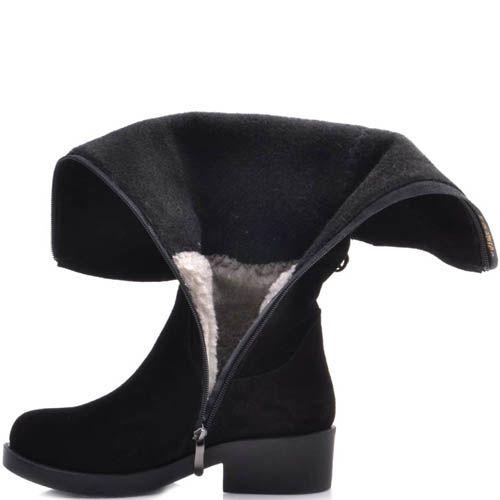 Сапоги Prego зимние черного цвета замшевые с диагональной металлической молнией, фото