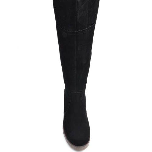 Сапоги Prego зимние черного цвета замшевые с подошвой песочного цвета, фото