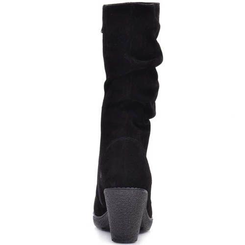 Сапоги Prego зимние замшевые черного цвета на устойчивом каблуке со свободным голенищем, фото