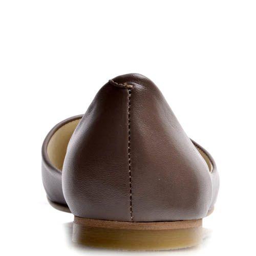 Балетки Prego мягкого коричневого оттенка с глубоким вырезом, фото