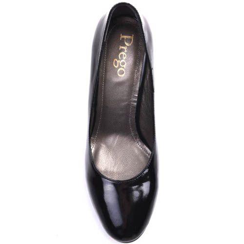 Туфли Prego классические черного цвета лаковые на устойчивом каблуке, фото