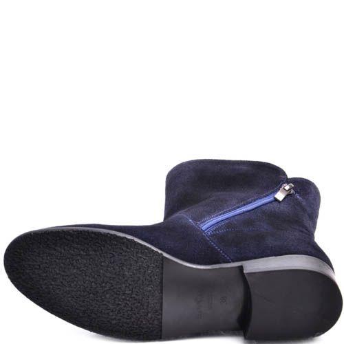 Ботинки Prego женские синего цвета замшевые с золотистой молнией, фото
