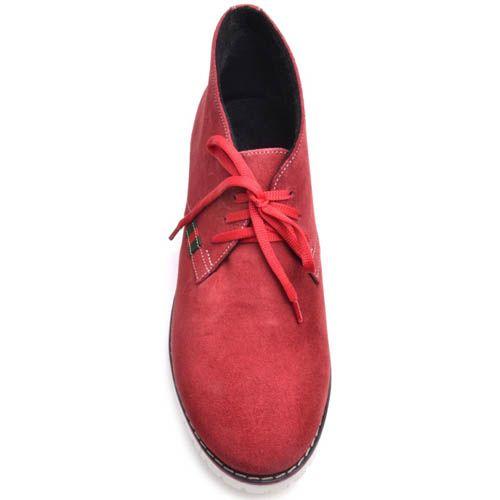 Ботинки Prego женские красные замшевые с белой подошвой, фото