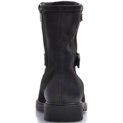 Ботинки Prego зимние из черного нубука с металлической пряжкой, фото
